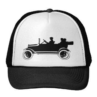 Chapéu do boné da silhueta do carro antigo do vint