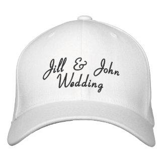 Chapéu do branco dos nomes da noiva & do noivo da boné bordado