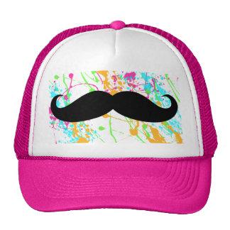 Chapéu do camionista do bigode do rosa quente boné