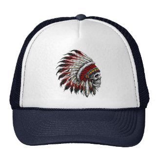 Chapéu do camionista do crânio do nativo americano boné