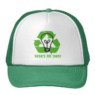 Chapéu do camionista do pense verde boné