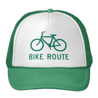 Chapéu do camionista do sinal da rota da bicicleta bonés