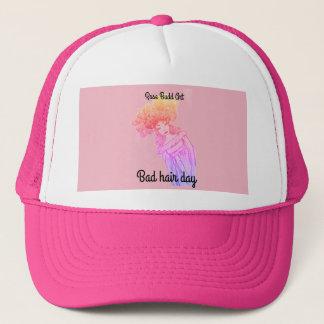 chapéu do camionista, rosa, dia mau do cabelo boné