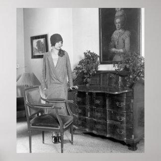 chapéu do Cloche da forma do 1920 Pôster