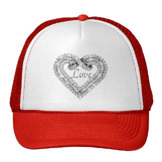 Chapéu do coração do diamante do amor boné