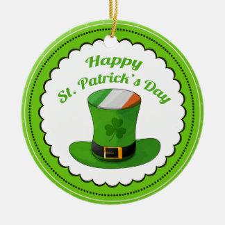 Chapéu do Leprechaun do dia de St Patrick & trevo Ornamento De Cerâmica Redondo