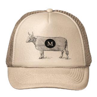 Chapéu do monograma T da vaca da ILUSTRAÇÃO do Boné