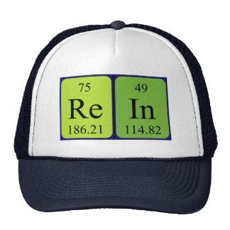 Chapéu do nome da mesa periódica da rédea boné