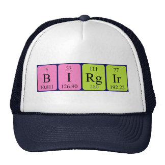 Chapéu do nome da mesa periódica de Birgir Bones