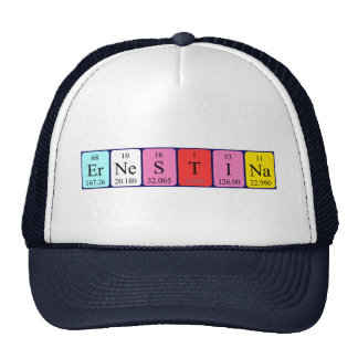 Chapéu do nome da mesa periódica de Ernestina Bones