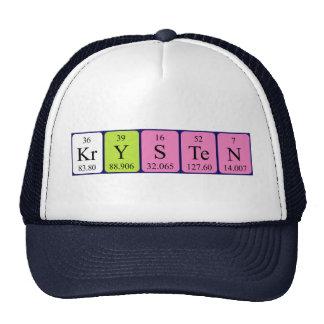 Chapéu do nome da mesa periódica de Krysten Bonés