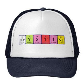Chapéu do nome da mesa periódica de Krystina Bonés