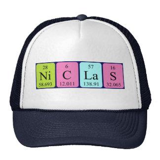Chapéu do nome da mesa periódica de Niclas Bonés