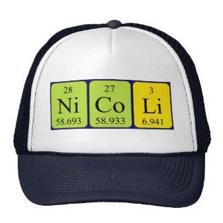 Chapéu do nome da mesa periódica de Nicoli Bones
