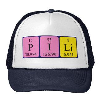 Chapéu do nome da mesa periódica de Pili Bones
