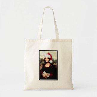 Chapéu do papai noel do Natal de Mona Lisa Bolsa Tote