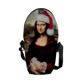 Chapéu do papai noel do Natal de Mona Lisa Bolsas Mensageiro