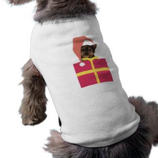 Chapéu do papai noel do yorkshire terrier camisa sem mangas para cachorro