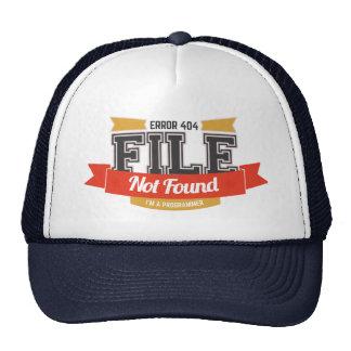 chapéu do programador: arquivo do erro 404 não boné