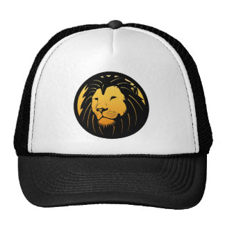 Chapéu dourado do camionista do logotipo da cabeça bonés