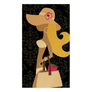 Chapéu floral do louro do Fashionista do biquini d Modelos Cartoes De Visita