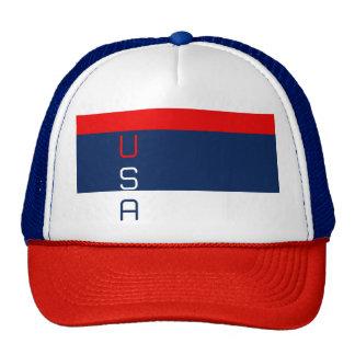 Chapéu listrado branco dos EUA & azul vermelho Boné