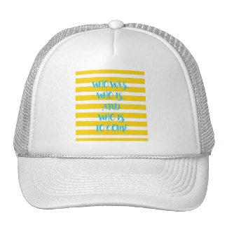 Chapéu listrado náutico amarelo do camionista da boné