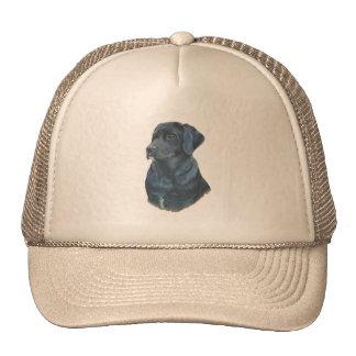 chapéu preto da arte do retrato do cão do realista boné