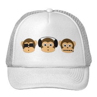 Chapéu sábio de três macacos boné