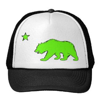 Chapéu verde de néon do urso da bandeira de Califó Bonés
