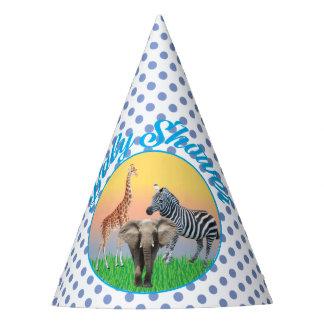 Chapéus de chá de fraldas azuis animais das