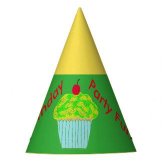 Chapéus do aniversário do cupcake do verde amarelo