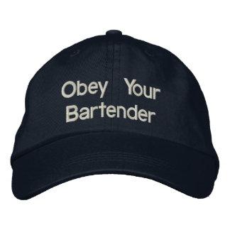 Chapéus do barman - obedeça seu barman boné bordado