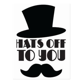 CHAPÉUS fora a você! com chapéu alto e moustache Cartão Postal