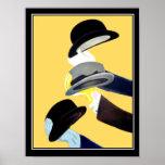 Chapéus franceses do poster vintage 3 do art deco
