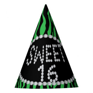 Chapéus verdes do partido do doce 16 do diamante