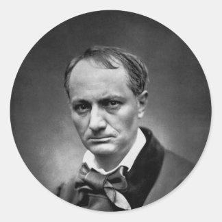 Charles Baudelaire - foto 1878 do vintage Adesivos Redondos
