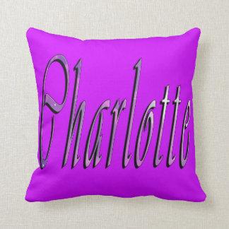 Charlotte, coxim magenta do lance do logotipo almofada