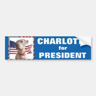 Charlotte para o presidente autocolante no vidro adesivo para carro