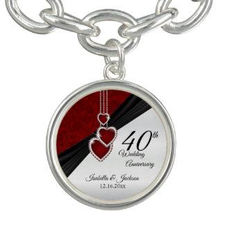 Charm Bracelet 40th Design da lembrança do aniversário do rubi