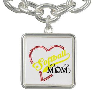 Charm Bracelet A mamã do softball do coração do ponto da emenda