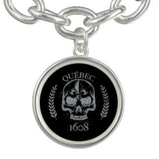 Charm Bracelet Breloque dinheiro chapeado Quebeque biker skull