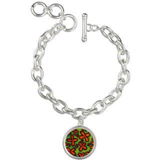 Charm Bracelet Encanto alaranjado abstrato das flores