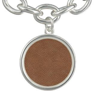 Charm Bracelet Falso Brown natural de couro