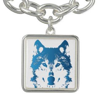 Charm Bracelet Lobo do azul de gelo da ilustração