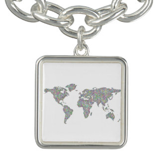 Charm Bracelet Mapa do mundo