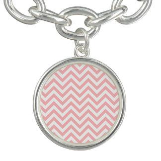 Charm Bracelet O ziguezague cor-de-rosa e branco listra o teste
