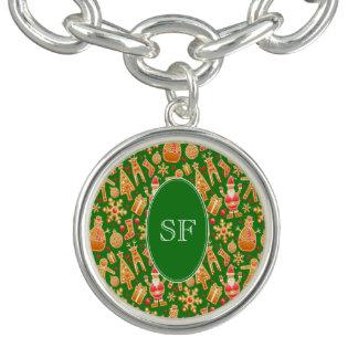 Charm Bracelet Papai noel e monograma festivos do pão-de-espécie