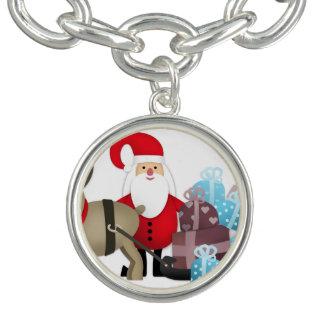 Charm Bracelet Papai noel & sua rena com presentes