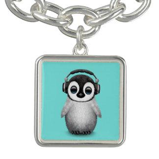 Charm Bracelet Pinguim bonito DJ do bebê que veste fones de